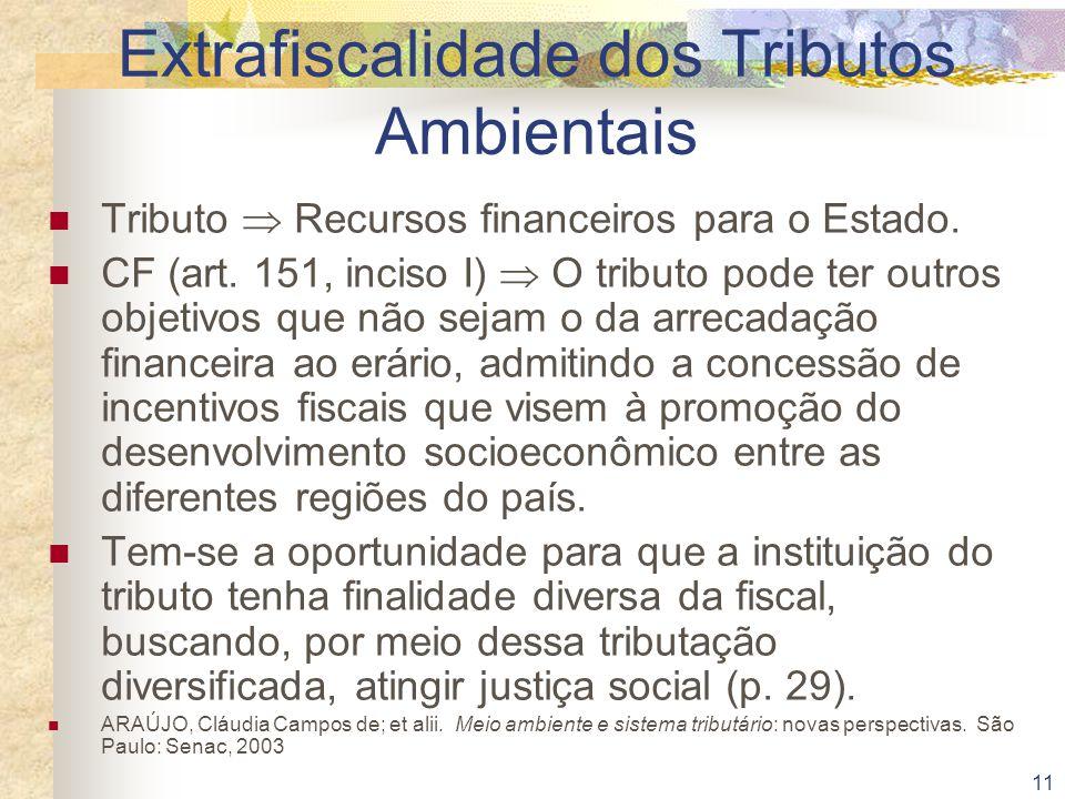 11 Extrafiscalidade dos Tributos Ambientais Tributo  Recursos financeiros para o Estado. CF (art. 151, inciso I)  O tributo pode ter outros objetivo