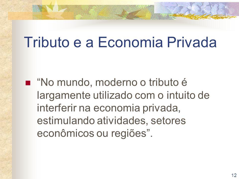 """12 Tributo e a Economia Privada """"No mundo, moderno o tributo é largamente utilizado com o intuito de interferir na economia privada, estimulando ativi"""
