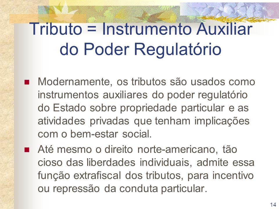 14 Tributo = Instrumento Auxiliar do Poder Regulatório Modernamente, os tributos são usados como instrumentos auxiliares do poder regulatório do Estad
