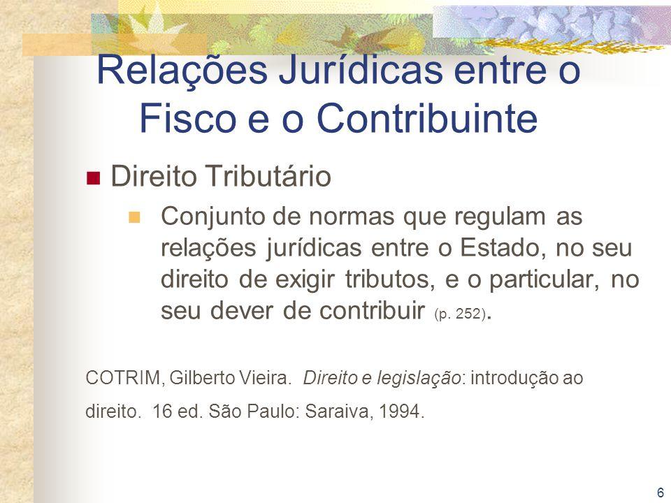 6 Relações Jurídicas entre o Fisco e o Contribuinte Direito Tributário Conjunto de normas que regulam as relações jurídicas entre o Estado, no seu dir