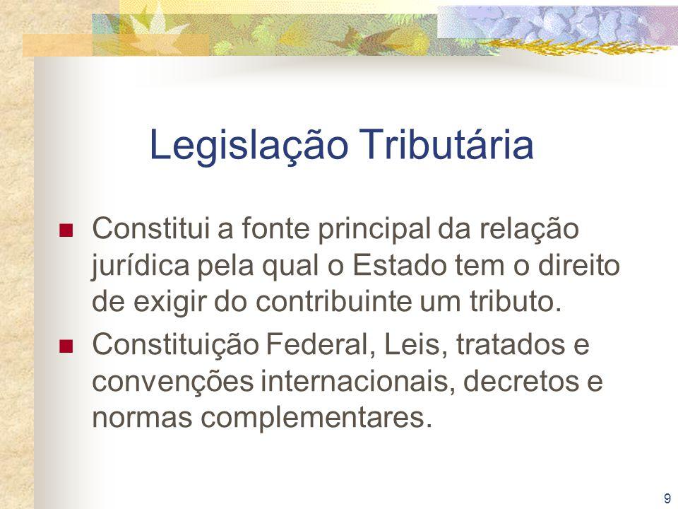 9 Legislação Tributária Constitui a fonte principal da relação jurídica pela qual o Estado tem o direito de exigir do contribuinte um tributo. Constit