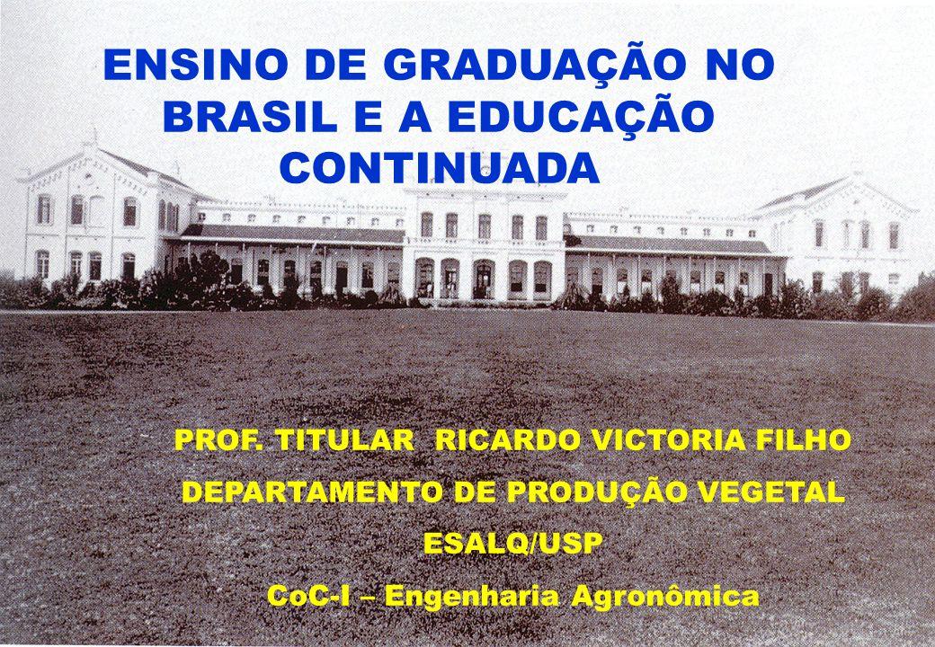 ENSINO DE GRADUAÇÃO NO BRASIL E A EDUCAÇÃO CONTINUADA PROF. TITULAR RICARDO VICTORIA FILHO DEPARTAMENTO DE PRODUÇÃO VEGETAL ESALQ/USP CoC-I – Engenhar