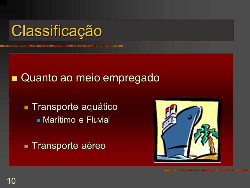 10 Classificação Quanto ao meio empregado Quanto ao meio empregado Transporte aquático Transporte aquático Marítimo e Fluvial Marítimo e Fluvial Transporte aéreo Transporte aéreo