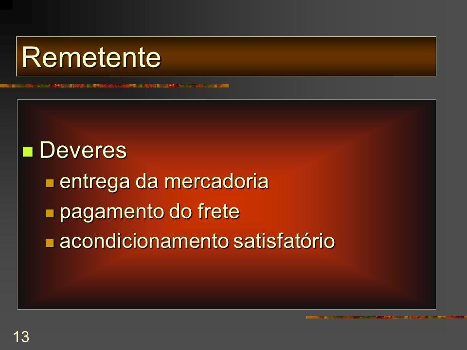 13 Remetente Deveres Deveres entrega da mercadoria entrega da mercadoria pagamento do frete pagamento do frete acondicionamento satisfatório acondicionamento satisfatório