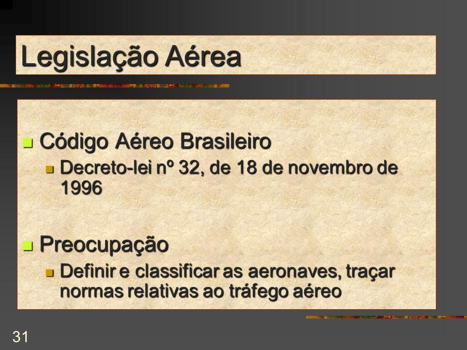31 Legislação Aérea Código Aéreo Brasileiro Código Aéreo Brasileiro Decreto-lei nº 32, de 18 de novembro de 1996 Decreto-lei nº 32, de 18 de novembro de 1996 Preocupação Preocupação Definir e classificar as aeronaves, traçar normas relativas ao tráfego aéreo Definir e classificar as aeronaves, traçar normas relativas ao tráfego aéreo
