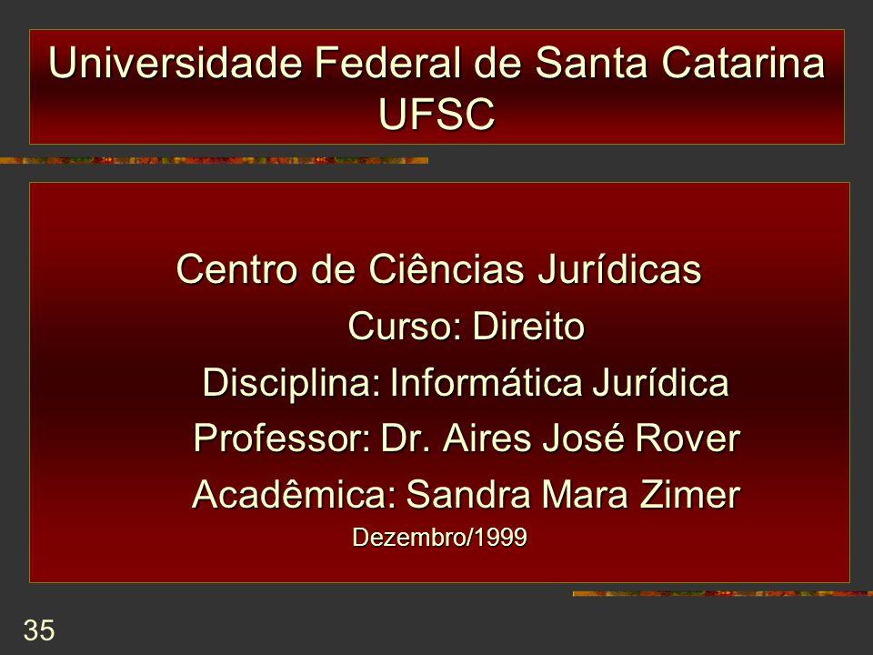 35 Universidade Federal de Santa Catarina UFSC Centro de Ciências Jurídicas Curso: Direito Curso: Direito Disciplina: Informática Jurídica Disciplina: Informática Jurídica Professor: Dr.