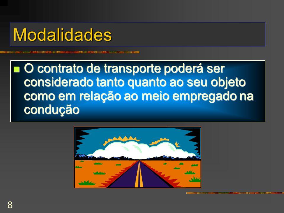 8 Modalidades O contrato de transporte poderá ser considerado tanto quanto ao seu objeto como em relação ao meio empregado na condução O contrato de transporte poderá ser considerado tanto quanto ao seu objeto como em relação ao meio empregado na condução