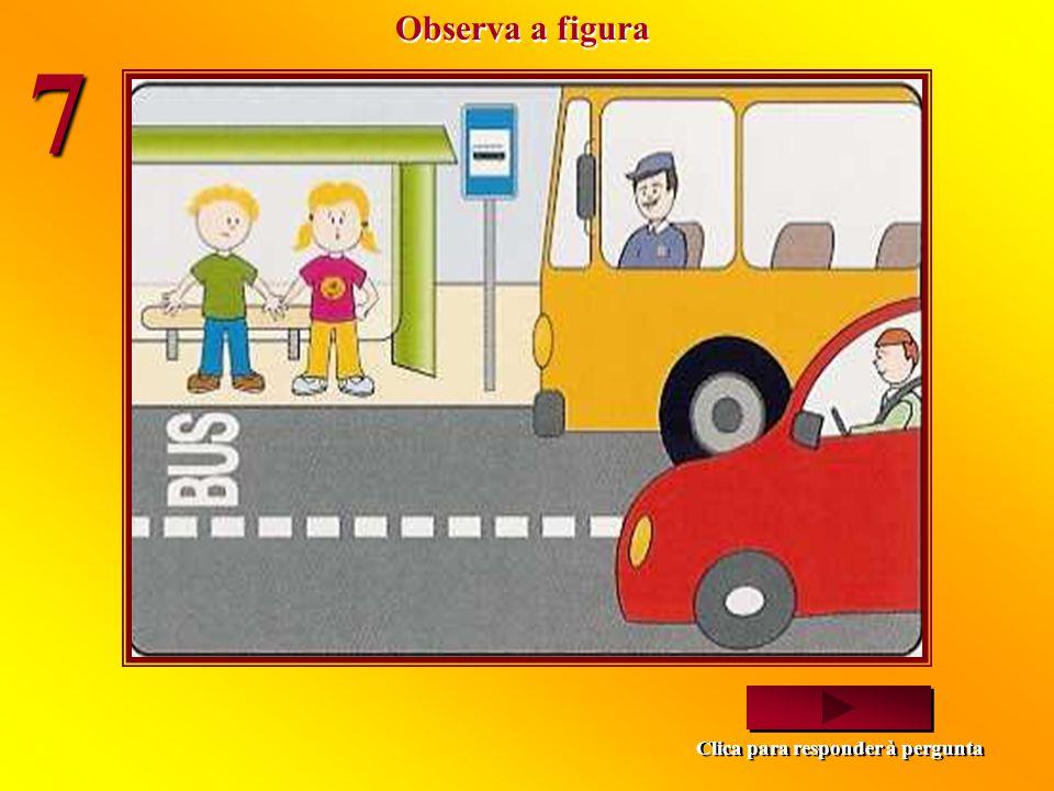 O sinal luminoso para os condutores está verde. Qual será a cor que estará para os peões? Vermelho. Verde. Vermelho. Verde. a) b) Imagem seguinte Clic