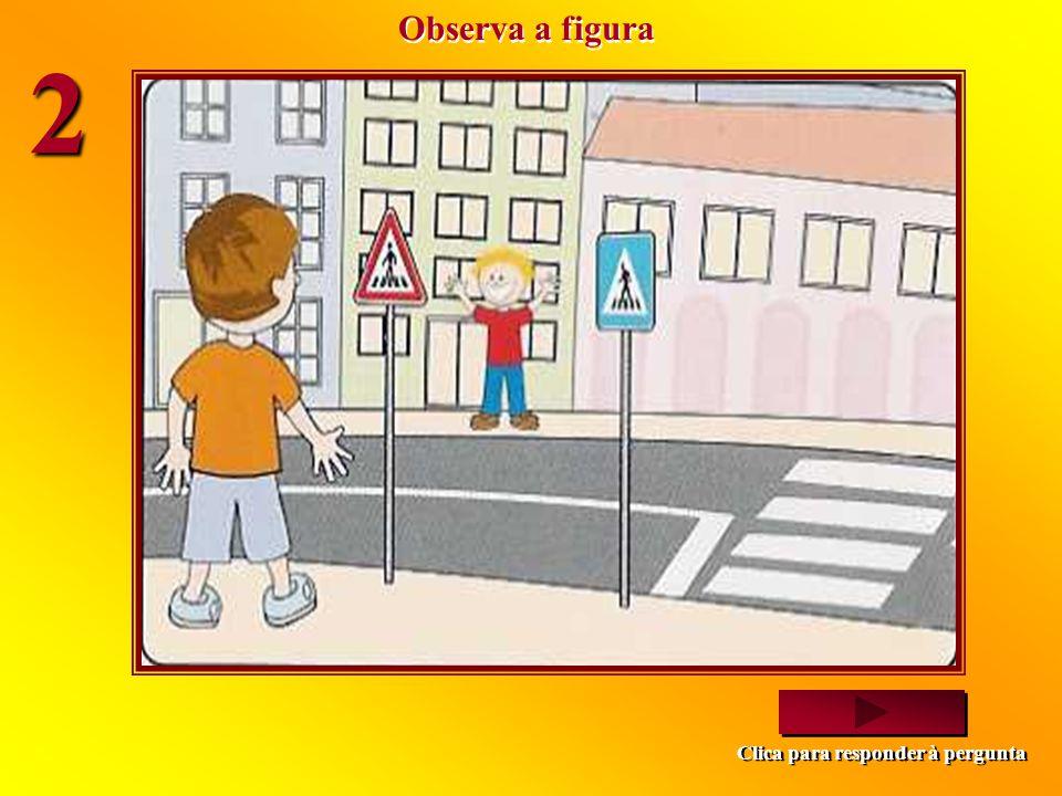 O Miguel vai para a escola. Achas que está a caminhar correctamente? Não, porque devia ir do outro lado da estrada. Sim, porque caminha de frente para