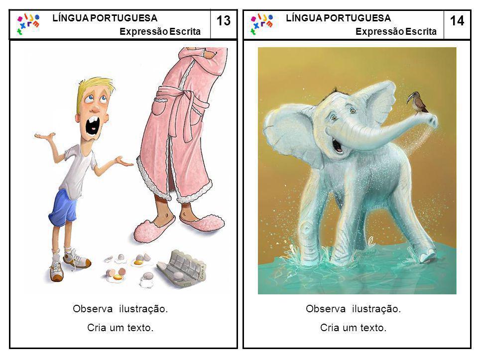 14 LÍNGUA PORTUGUESA Expressão Escrita LÍNGUA PORTUGUESA Expressão Escrita 13 Observa ilustração. Cria um texto. Observa ilustração. Cria um texto.