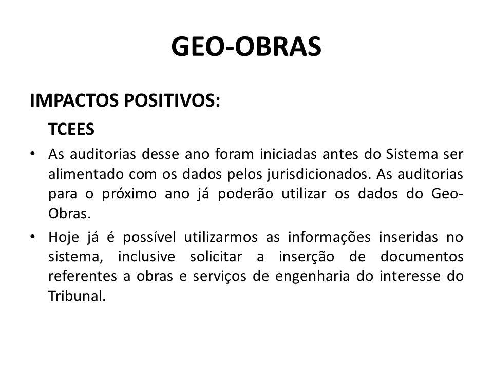 GEO-OBRAS IMPACTOS POSITIVOS: TCEES As auditorias desse ano foram iniciadas antes do Sistema ser alimentado com os dados pelos jurisdicionados. As aud