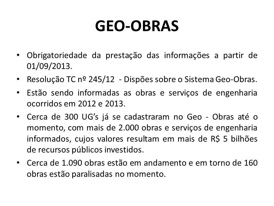 GEO-OBRAS Obrigatoriedade da prestação das informações a partir de 01/09/2013. Resolução TC nº 245/12 - Dispões sobre o Sistema Geo-Obras. Estão sendo
