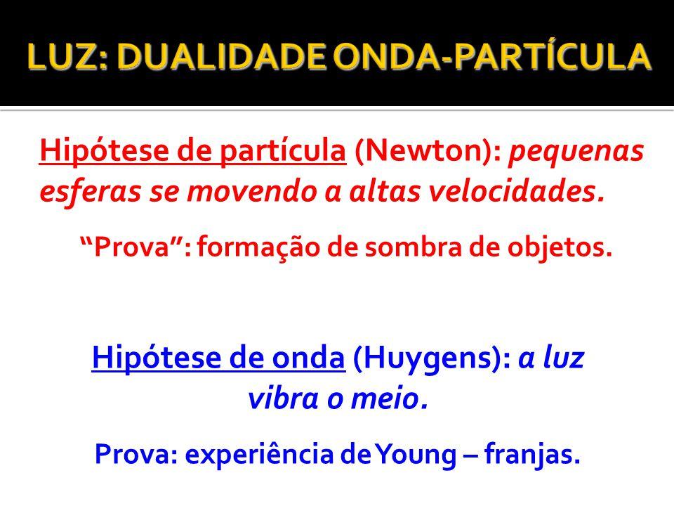 "Hipótese de partícula (Newton): pequenas esferas se movendo a altas velocidades. ""Prova"": formação de sombra de objetos. Hipótese de onda (Huygens): a"