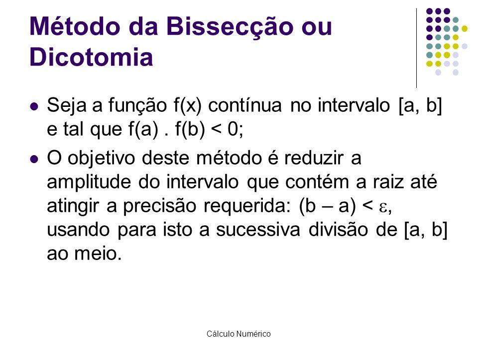 Cálculo Numérico Método da Bissecção ou Dicotomia Seja a função f(x) contínua no intervalo [a, b] e tal que f(a). f(b) < 0; O objetivo deste método é