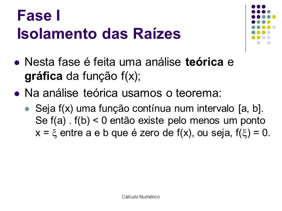Cálculo Numérico Fase I Isolamento das Raízes Nesta fase é feita uma análise teórica e gráfica da função f(x); Na análise teórica usamos o teorema: Se