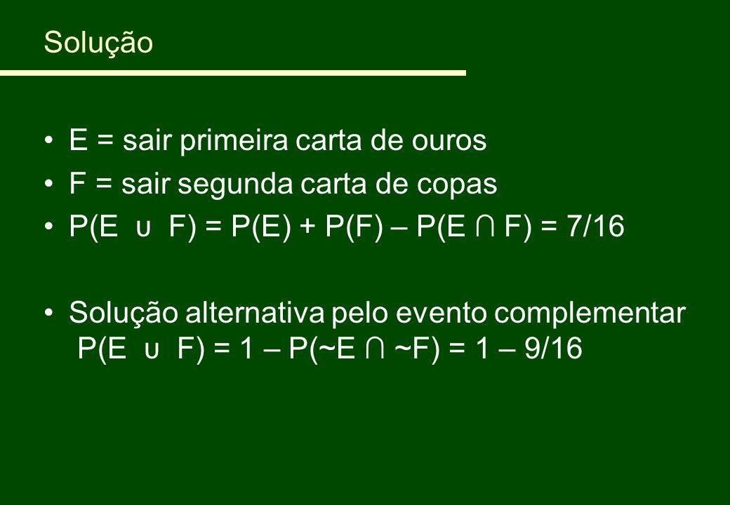 Solução E = sair primeira carta de ouros F = sair segunda carta de copas P(E υ F) = P(E) + P(F) – P(E ∩ F) = 7/16 Solução alternativa pelo evento comp