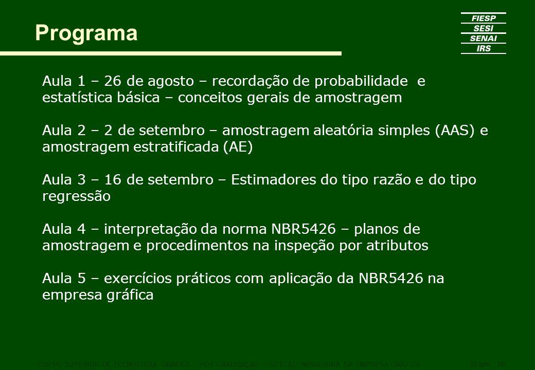 Programa Aula 1 – 26 de agosto – recordação de probabilidade e estatística básica – conceitos gerais de amostragem Aula 2 – 2 de setembro – amostragem