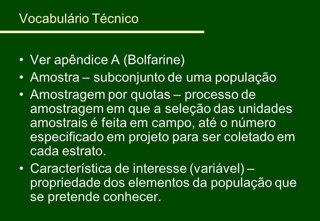 Vocabulário Técnico Ver apêndice A (Bolfarine) Amostra – subconjunto de uma população Amostragem por quotas – processo de amostragem em que a seleção