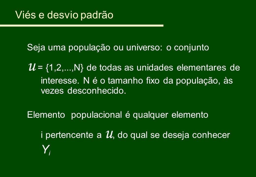 Viés e desvio padrão Seja uma população ou universo: o conjunto u = {1,2,...,N} de todas as unidades elementares de interesse. N é o tamanho fixo da p