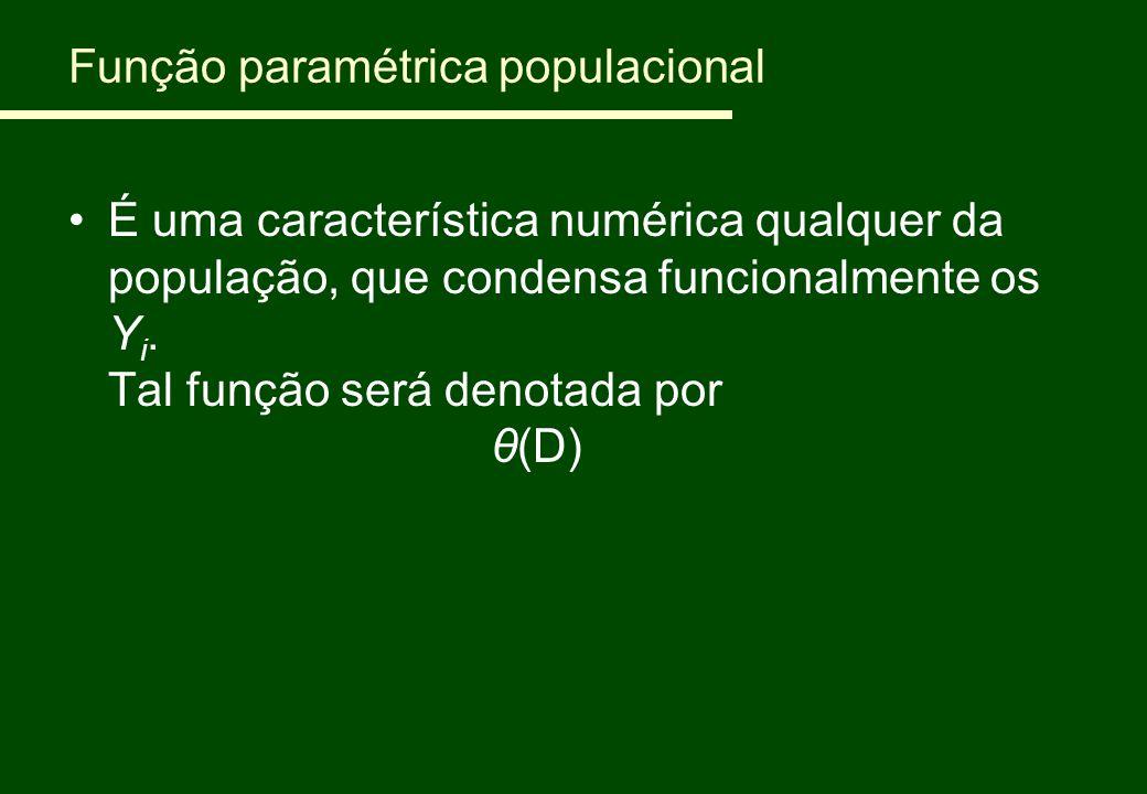 Função paramétrica populacional É uma característica numérica qualquer da população, que condensa funcionalmente os Y i. Tal função será denotada por