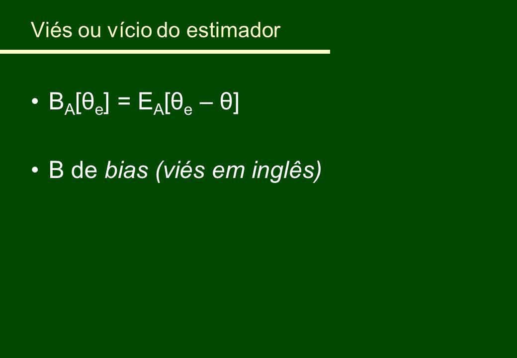 Viés ou vício do estimador B A [ θ e ] = E A [θ e – θ] B de bias (viés em inglês)
