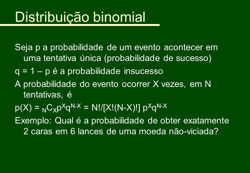 Distribuição binomial Seja p a probabilidade de um evento acontecer em uma tentativa única (probabilidade de sucesso) q = 1 – p é a probabilidade insu