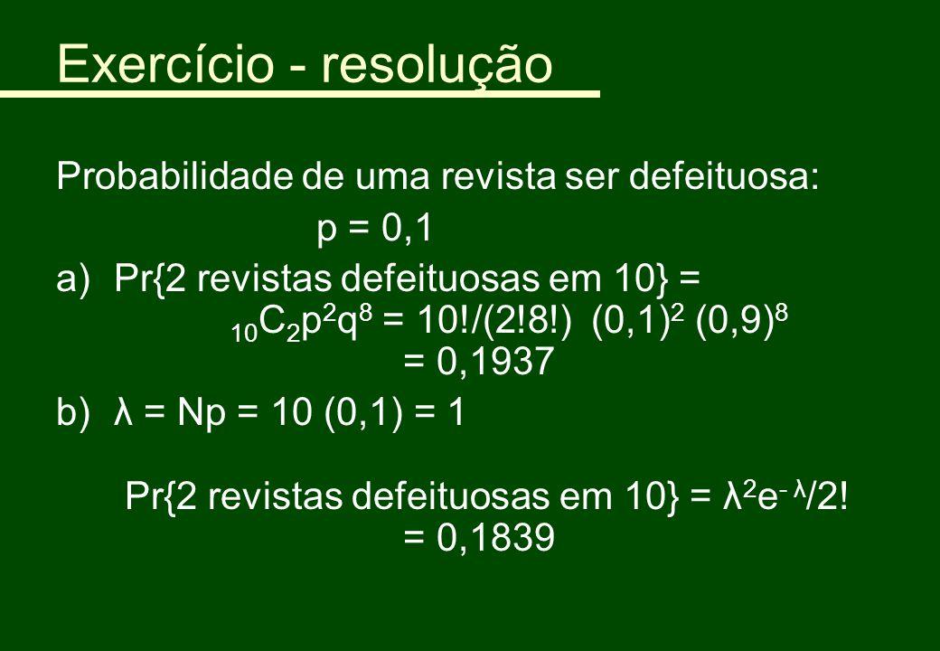 Exercício - resolução Probabilidade de uma revista ser defeituosa: p = 0,1 a)Pr{2 revistas defeituosas em 10} = 10 C 2 p 2 q 8 = 10!/(2!8!) (0,1) 2 (0