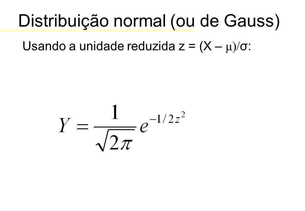 Distribuição normal (ou de Gauss) Usando a unidade reduzida z = (X – μ)/ σ: