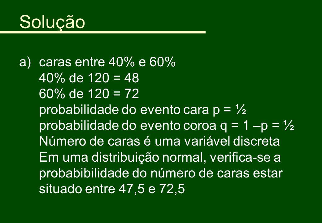 Solução a)caras entre 40% e 60% 40% de 120 = 48 60% de 120 = 72 probabilidade do evento cara p = ½ probabilidade do evento coroa q = 1 –p = ½ Número d