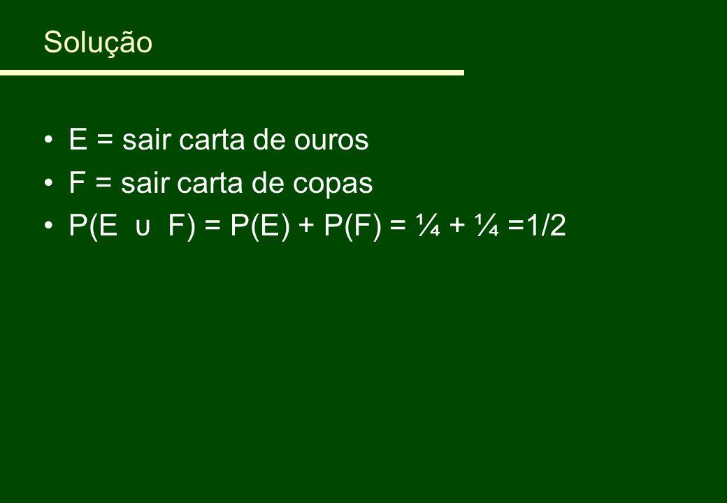 Solução E = sair carta de ouros F = sair carta de copas P(E υ F) = P(E) + P(F) = ¼ + ¼ =1/2
