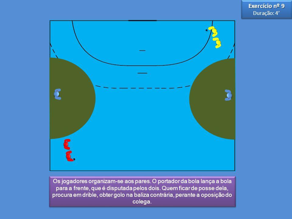 3 3 5 5 Os jogadores organizam-se aos pares. O portador da bola lança a bola para a frente, que é disputada pelos dois. Quem ficar de posse dela, proc