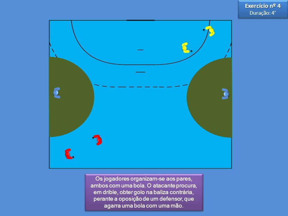 3 3 5 5 Os jogadores organizam-se aos pares, ambos com uma bola. O atacante procura, em drible, obter golo na baliza contrária, perante a oposição de