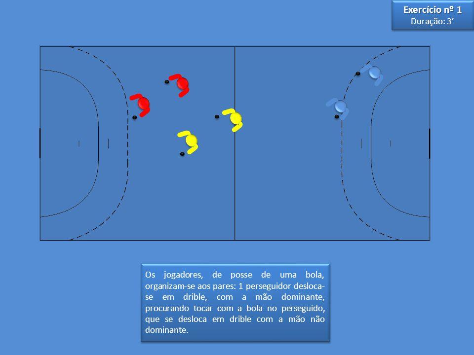 Os jogadores, de posse de uma bola, organizam-se aos pares: 1 perseguidor desloca- se em drible, com a mão dominante, procurando tocar com a bola no p