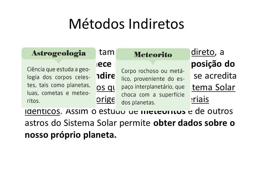Métodos Indiretos A astrogeologia é também um método indireto, a astrogeologia fornece informações a composição do interior da terra indiretamente, vi