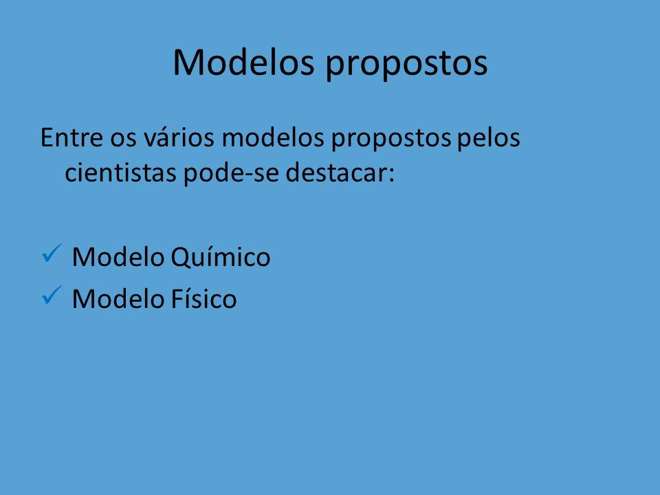 Modelos propostos Entre os vários modelos propostos pelos cientistas pode-se destacar: Modelo Químico Modelo Físico