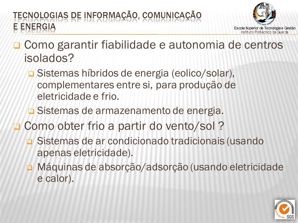  Como garantir fiabilidade e autonomia de centros isolados?  Sistemas híbridos de energia (eolico/solar), complementares entre si, para produção de