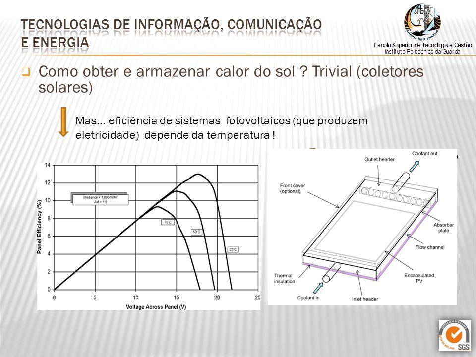  Como obter e armazenar calor do sol ? Trivial (coletores solares) Mas… eficiência de sistemas fotovoltaicos (que produzem eletricidade) depende da t