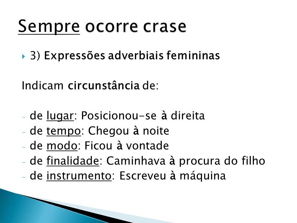  3) Expressões adverbiais femininas Indicam circunstância de: - de lugar: Posicionou-se à direita - de tempo: Chegou à noite - de modo: Ficou à vonta