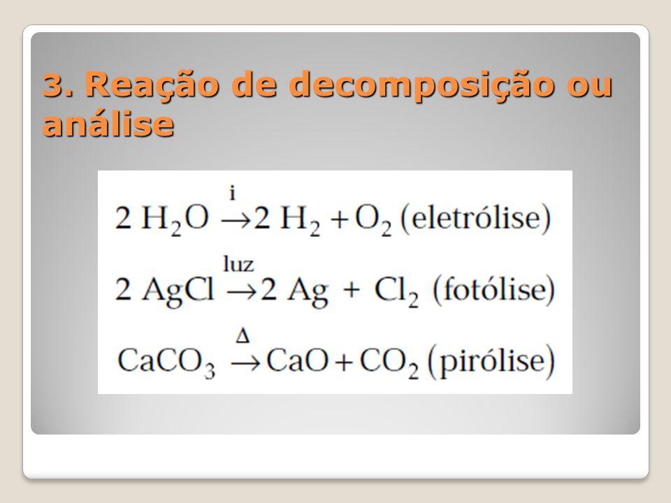 3. Reação de decomposição ou análise