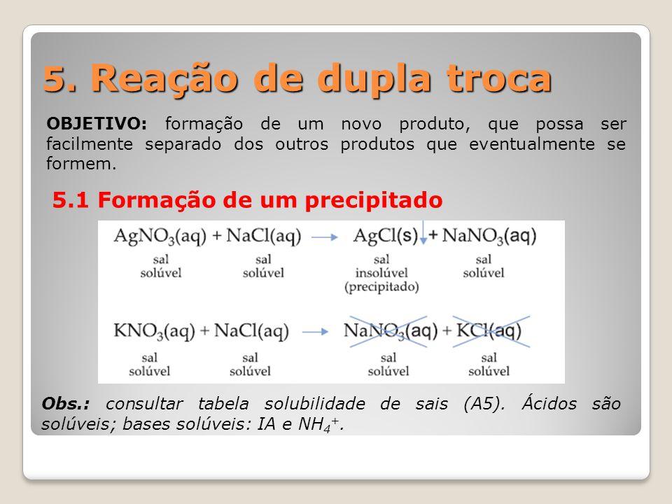 5. Reação de dupla troca OBJETIVO: formação de um novo produto, que possa ser facilmente separado dos outros produtos que eventualmente se formem. 5.1