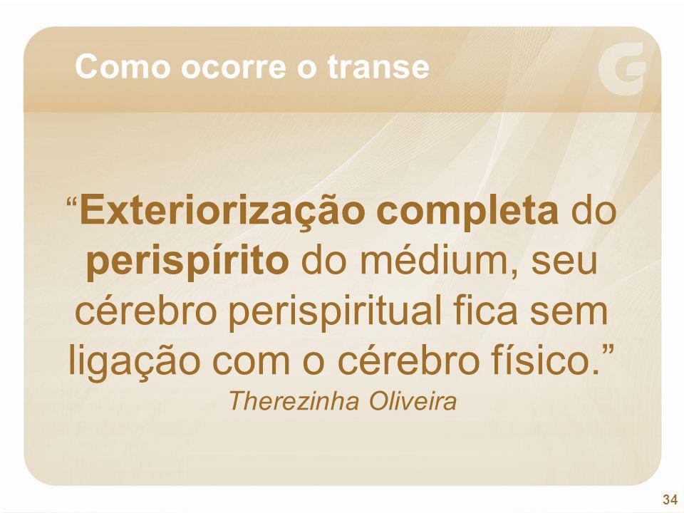 """34 """" Exteriorização completa do perispírito do médium, seu cérebro perispiritual fica sem ligação com o cérebro físico."""" Therezinha Oliveira Como ocor"""