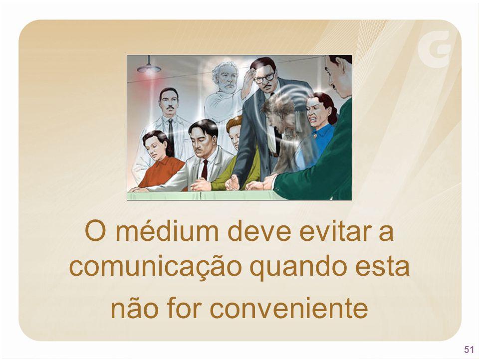 51 O médium deve evitar a comunicação quando esta não for conveniente
