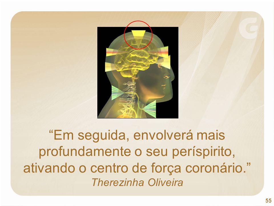 """55 """"Em seguida, envolverá mais profundamente o seu períspirito, ativando o centro de força coronário."""" Therezinha Oliveira"""