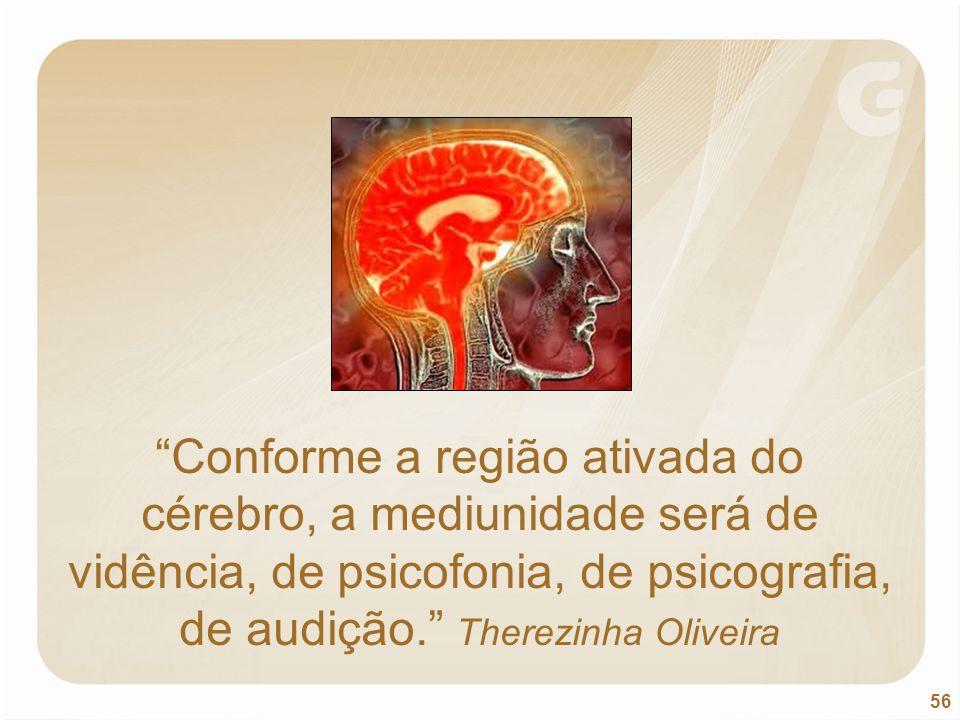"""56 """"Conforme a região ativada do cérebro, a mediunidade será de vidência, de psicofonia, de psicografia, de audição."""" Therezinha Oliveira"""
