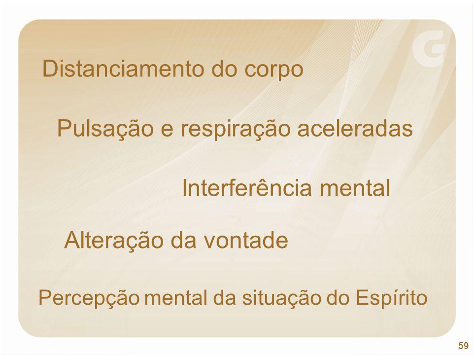 59 Distanciamento do corpo Pulsação e respiração aceleradas Interferência mental Alteração da vontade Percepção mental da situação do Espírito