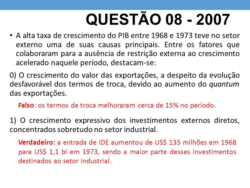 QUESTÃO 08 - 2007 A alta taxa de crescimento do PIB entre 1968 e 1973 teve no setor externo uma de suas causas principais. Entre os fatores que colabo