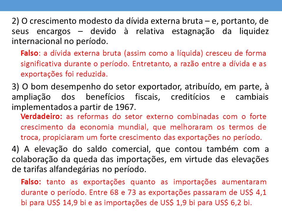 2) O crescimento modesto da dívida externa bruta – e, portanto, de seus encargos – devido à relativa estagnação da liquidez internacional no período.