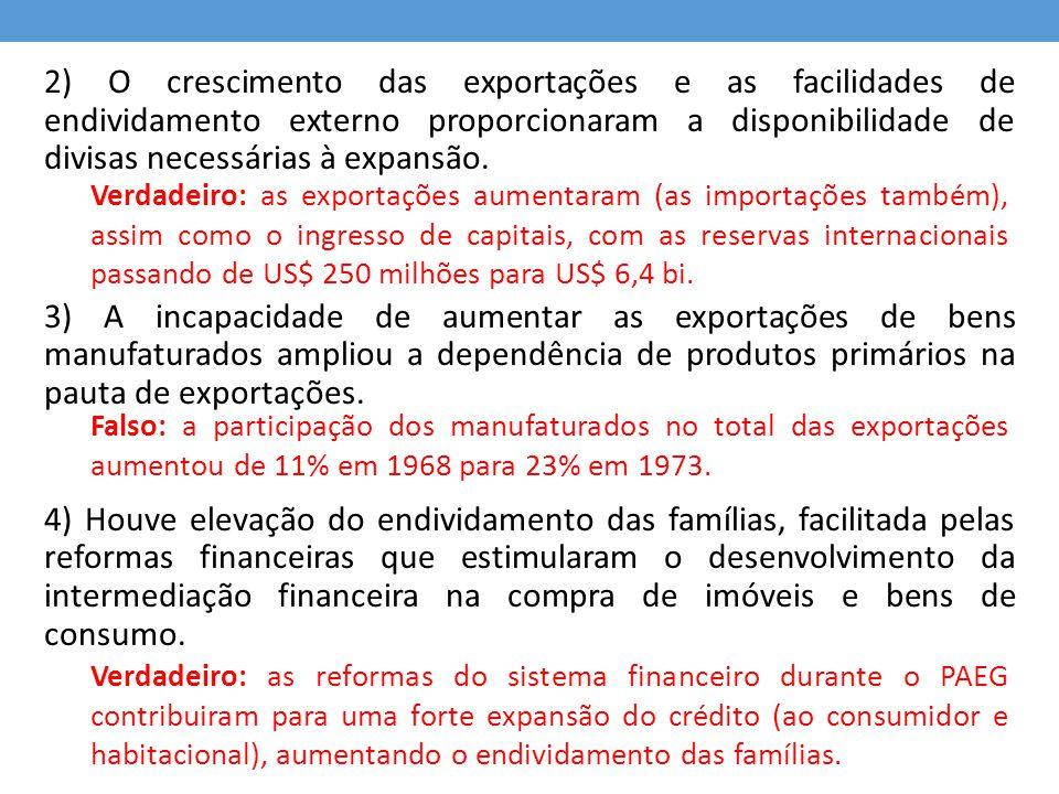 2) O crescimento das exportações e as facilidades de endividamento externo proporcionaram a disponibilidade de divisas necessárias à expansão. 3) A in