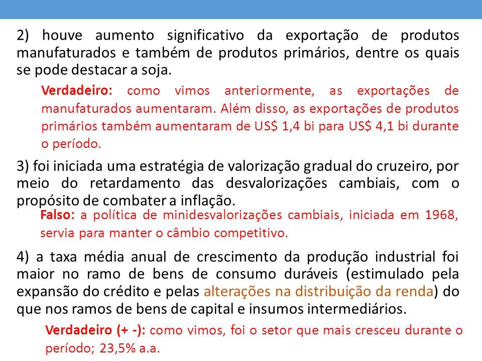 2) houve aumento significativo da exportação de produtos manufaturados e também de produtos primários, dentre os quais se pode destacar a soja. 3) foi
