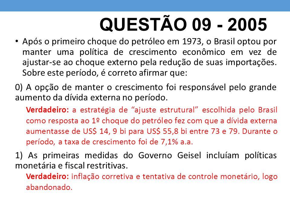 QUESTÃO 09 - 2005 Após o primeiro choque do petróleo em 1973, o Brasil optou por manter uma política de crescimento econômico em vez de ajustar-se ao